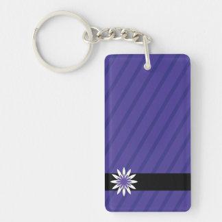 Purple and white flower stripes keychain Double-Sided rectangular acrylic keychain
