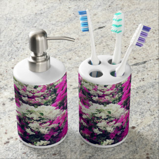 Purple and White Flowers Bathroom Set