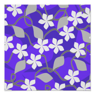 Purple and White Flowers. Floral Pattern. Posters
