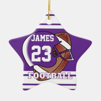 Purple and White Football Ceramic Star Decoration