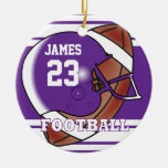 Purple and White Football Round Ceramic Decoration