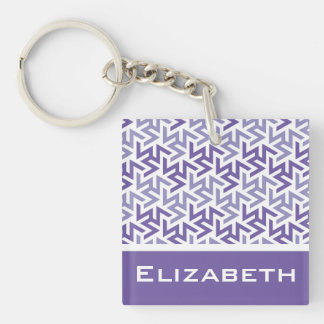 Purple and White Geometric Pattern Double-Sided Square Acrylic Keychain