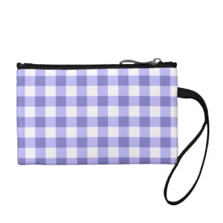 Purple And White Gingham Check Pattern Change Purses