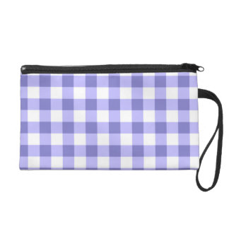 Purple And White Gingham Check Pattern Wristlet Clutches