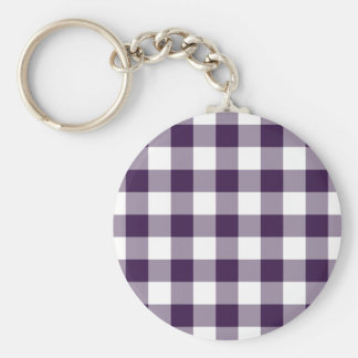 Purple and White Gingham Pattern Basic Round Button Key Ring