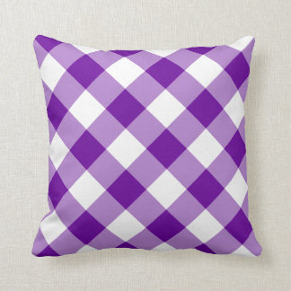 Purple and White Gingham Pattern Cushion
