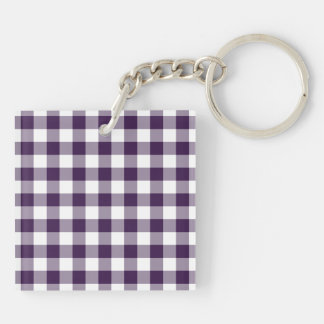 Purple and White Gingham Pattern Double-Sided Square Acrylic Key Ring