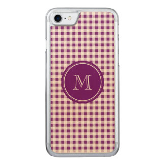Purple and White Gingham, Your Monogram Carved iPhone 8/7 Case