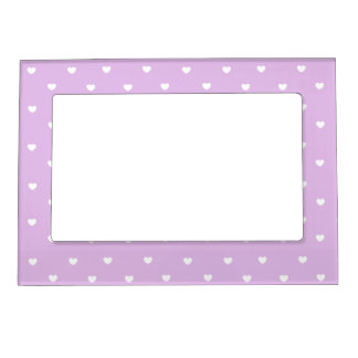 Purple and White Hearts Magnetic Picture Frame