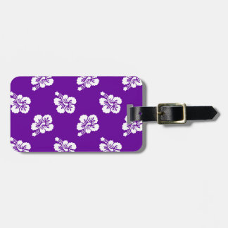 Purple and White Hibiscus Floral Luggage Tag