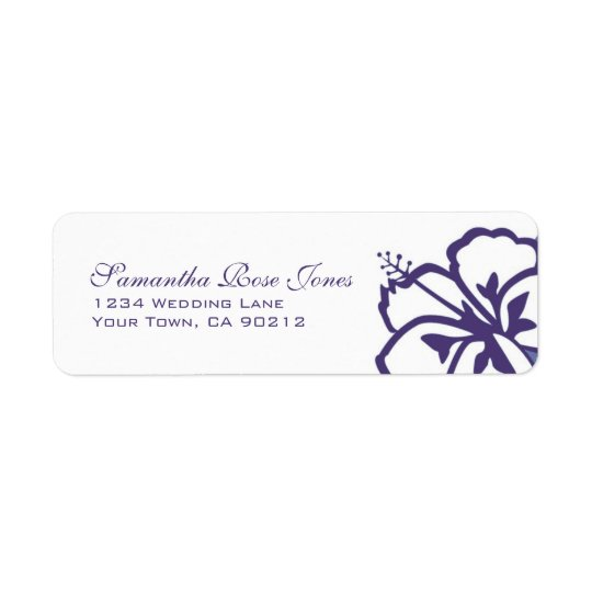 Purple and White Hibiscus Flowers Custom Address Return Address Label