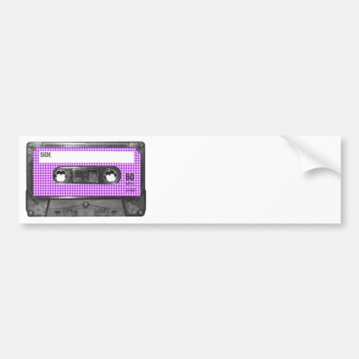Purple and White Houndstooth Label Cassette Bumper Stickers