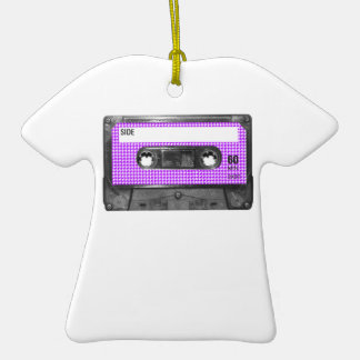 Purple and White Houndstooth Label Cassette Christmas Ornaments