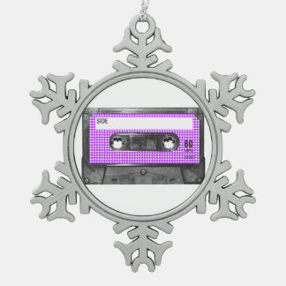 Purple and White Houndstooth Label Cassette Pewter Snowflake Decoration