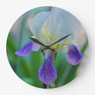 Purple and White Iris Large Clock
