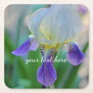 Purple and White Iris Square Paper Coaster