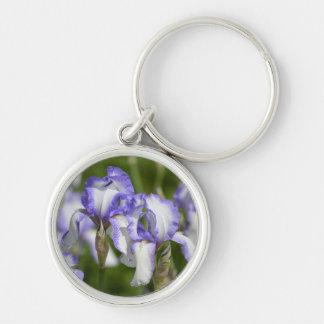 Purple and White Irises Keychains