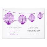 Purple and White Lanterns Wedding Invitation