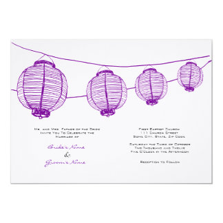 Purple and White Lanterns Wedding Invitation