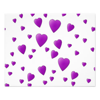 Purple and White Love Hearts Pattern. Flyer Design