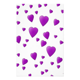 Purple and White Love Hearts Pattern. Flyers