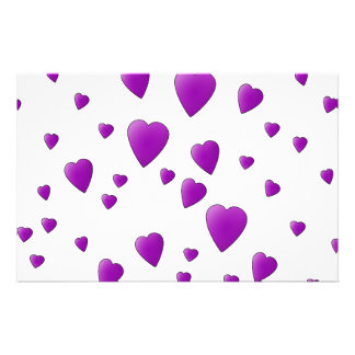 Purple and White Love Hearts Pattern Full Color Flyer