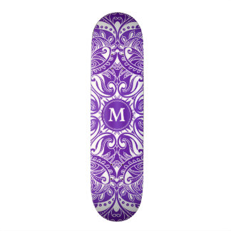 Purple and White Mandala  - Monogram Skateboard Deck