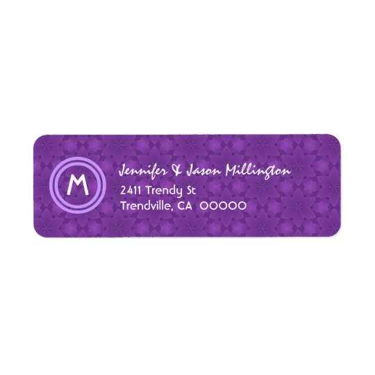 Purple  and White Modern Monogram Return Address Label