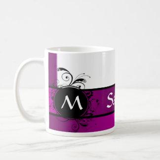 Purple and white monogram basic white mug