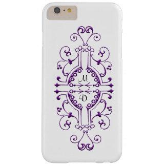 Purple and White Monogram iPhone Case