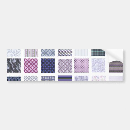 Purple and white mosaic bumper stickers
