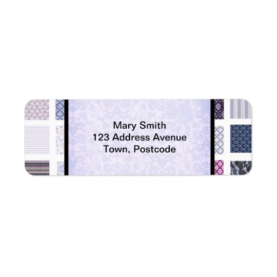 Purple and white mosaic return address label