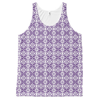 Purple And White Old English Floral All-Over Print Tank Top