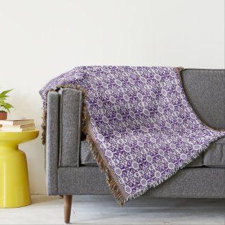 Purple And White Old English Floral Throw Blanket