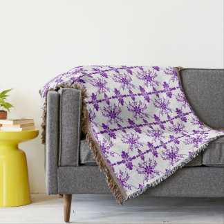 Purple and White Old English Styled Throw Blanket