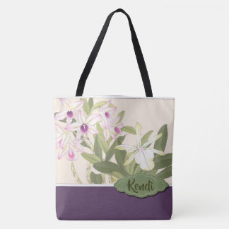 Purple and White Orchid Personalised Tote Bag