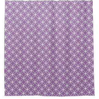 Purple and White Overlapping Circles Pattern Shower Curtain
