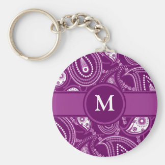 Purple and White Paisley Key Ring