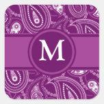 Purple and White Paisley Square Sticker