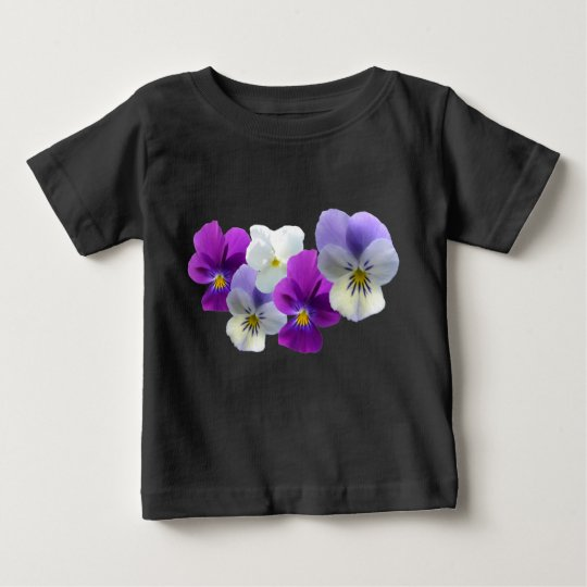 Purple and White Pansies Baby T-Shirt