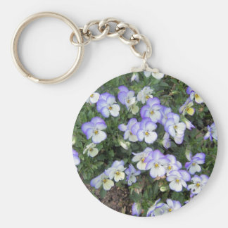 Purple and White Pansies Basic Round Button Key Ring