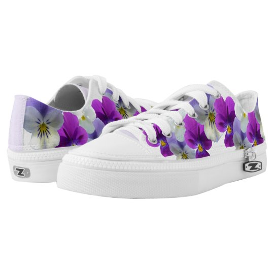 Purple and White Pansies Zipz Shoes Low Sneackers