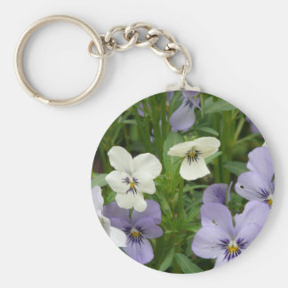 purple and white pansy basic round button key ring