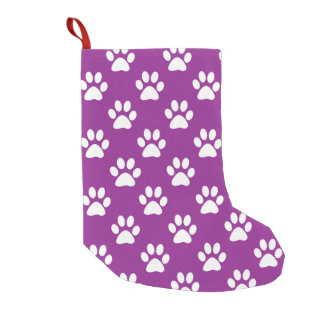 Purple and white paw prints pattern small christmas stocking