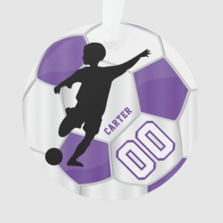 Purple and White Personalize Boy Soccer Player Ornament