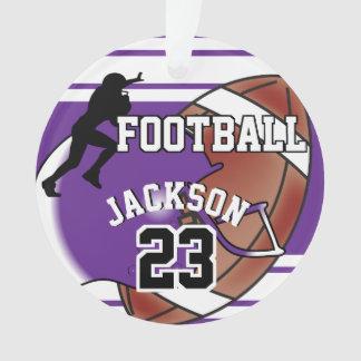 Purple and White Personalize Soccer Ball Ornament