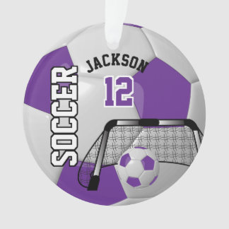 Purple and White Personalize Soccer Ball Ornament