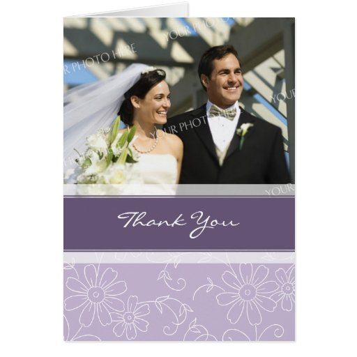 Purple and White Photo Wedding Thank You Card