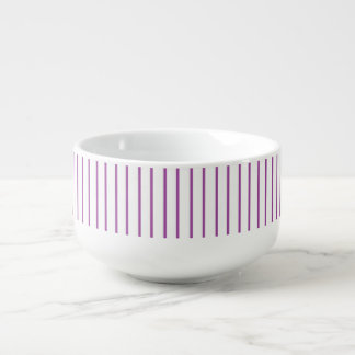 Purple and White Pinstripe Soup Mug