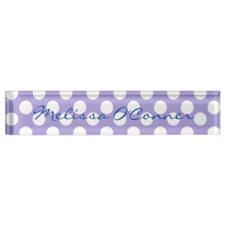 Purple and White Polka Dot Name Plate